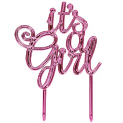 """It's a Girl"" Baby Shower - Metallisch pinker Tortenaufsetzer - Babyparty Tortendeko"