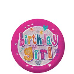 """birthday girl"" Holographischer Geburtstag Button 5,5cm"