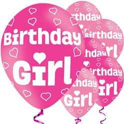 Birthday Girl pinke Ballons aus Latex 28cm