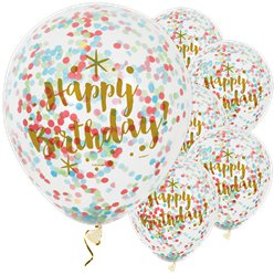 """Happy Birthday"" Bunte Konfetti-Ballons aus Latex 30cm"