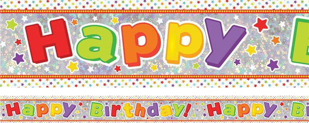 "Holographischer bunter ""Happy Birthday"" Folienbanner 2,7m"