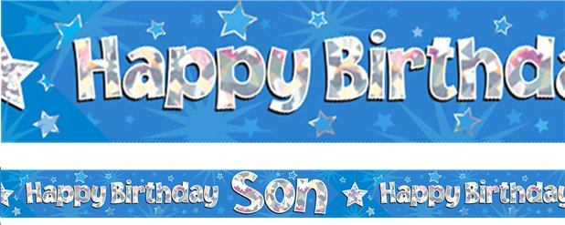 """Happy Birthday Son"" Blauer Folienbanner 2,7m"