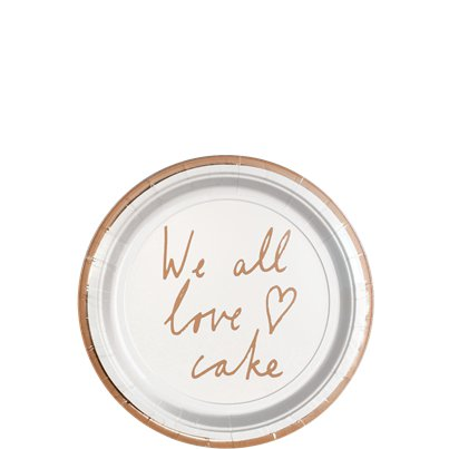 "Hochzeit in Gold - ""We all love cake"" Pappteller 13cm"