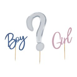 "Gender Reveal ""Boy or Girl?"" Baby Shower Tortendeko-Set"
