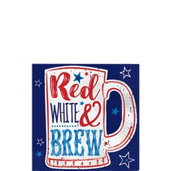 """Red, White & Brew"" Getränkeservietten 25cm"