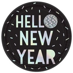 "Discokugel ""Hello New Year"" Schillernde Pappteller 23cm"