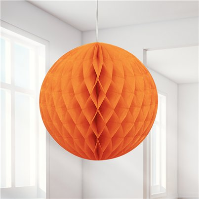 Orange Wabenball Deko 20cm