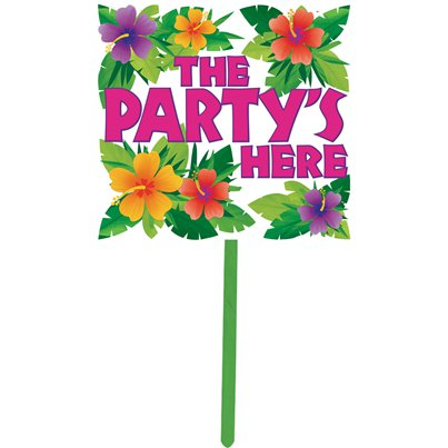 """The Party's Here!"" Sommer Gartenschild 38cm - Hawaii Deko"