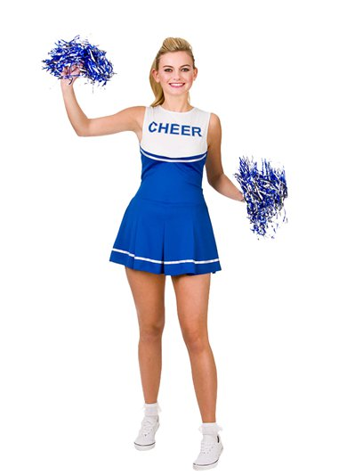 Blauer High School Cheerleader - Erwachsenenkostüm