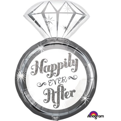 """Happily Ever After"" Ring Folienballon 69cm"