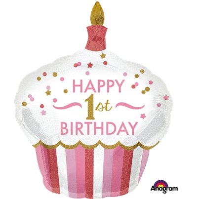 """Happy 1st Birthday"" Pinker Muffin Folienballon 74cm"