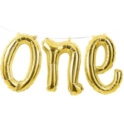 "Alter 1 ""one"" Goldene Folienballon-Girlande 30cm"