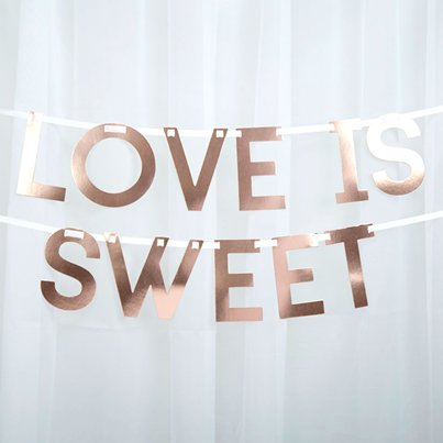 "Symmetrie in Rotgold - ""Love is sweet"" Candy Bar Girlande 2m"