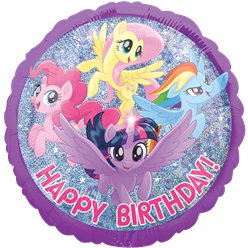 "My Little Pony - Holographischer ""Happy Birthday"" Folienballon 46cm"