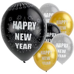 Happy New Year Silberne & Schwarze Ballons - 28cm Latex