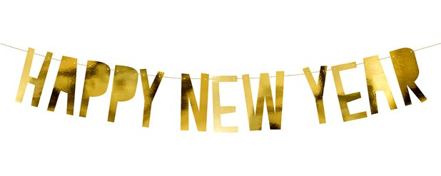 "Goldene ""Happy New Year"" Buchstabengirlande 90cm"