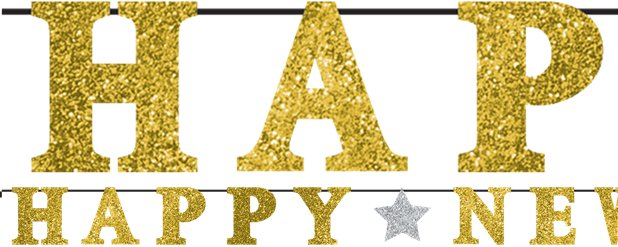 """Happy New Year"" Gold-glitzernde Silvester Buchstabengirlande 3,6m"