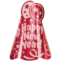 """Happy New Year"" Roter Silvester Partyhut 23cm"
