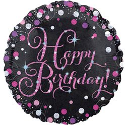 "Pinker Geburtstag - ""Happy Birthday"" Folienballon 46cm"