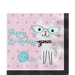 "Süße Katzen - ""Happy Birthday"" Servietten"