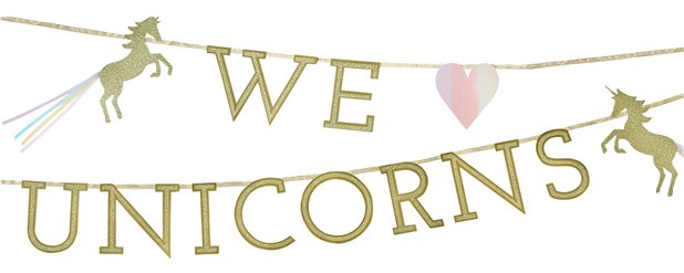 """We Love Unicorns"" - Einhorn Glitzernde Buchstabengirlande 3m"