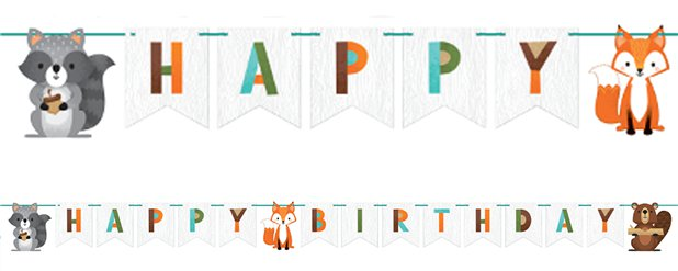"Waldtiere - ""Happy Birthday""-Girlande 2,4m"