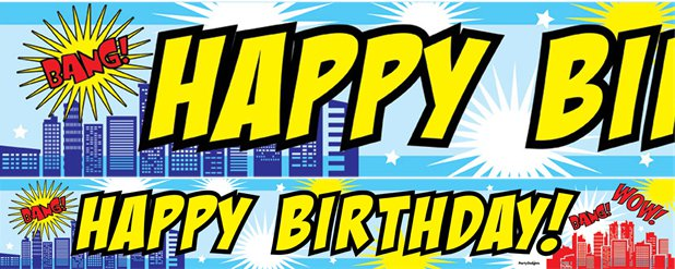 "Superhelden - ""Happy Birthday"" Banner-Set"