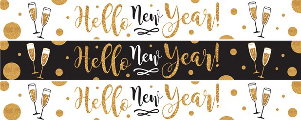 "Goldene ""Hello New Year"" Banner 1m"