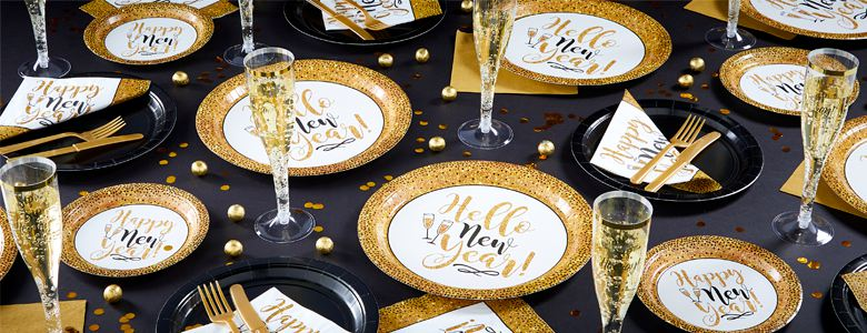 Gold-glitzerndes Silvester - Party Deko